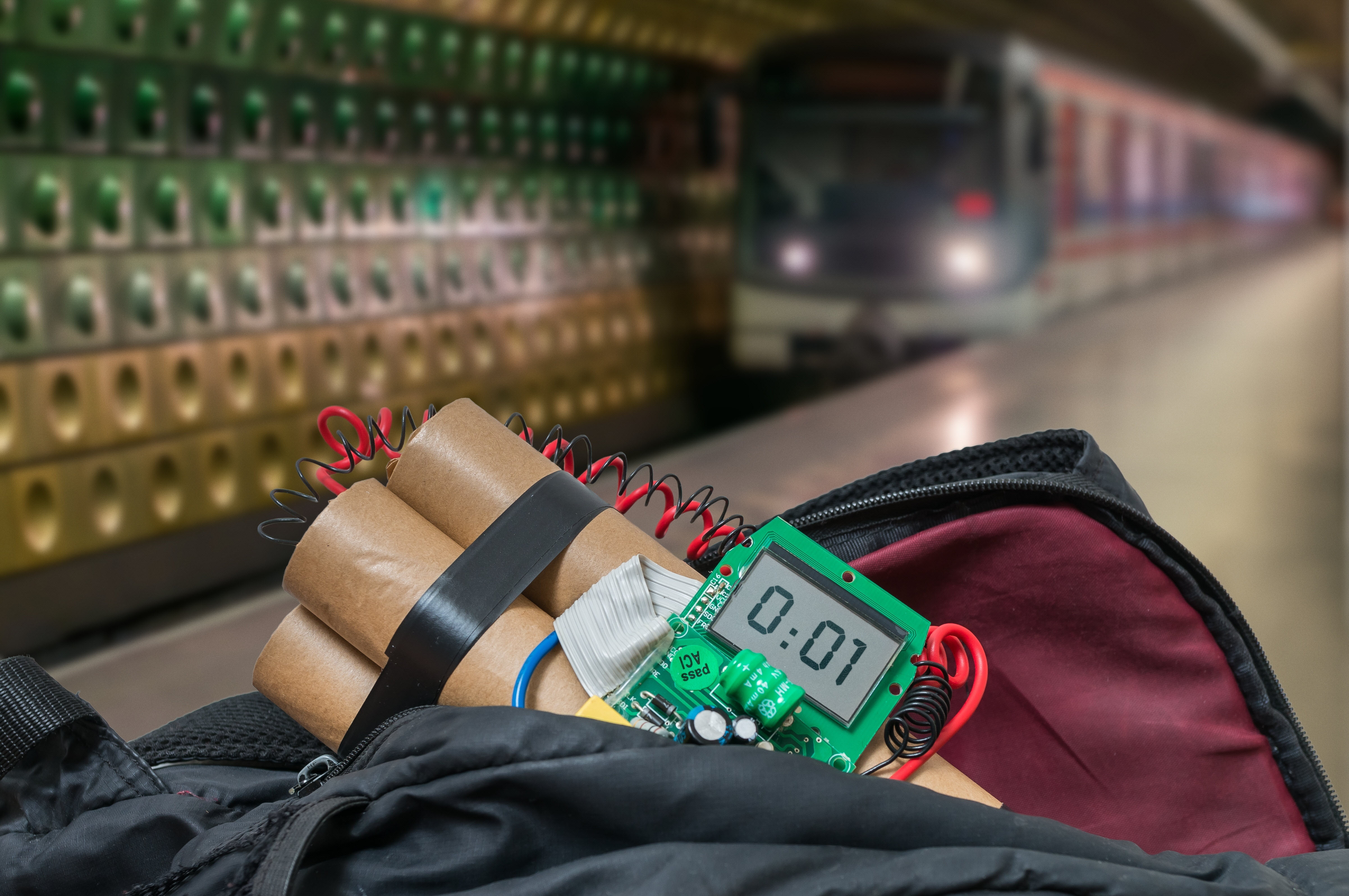 Image of a bomb on train tracks