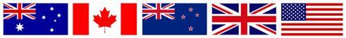 Flags of Australia, Canada, New Zealand, the United Kingdom, and the United States