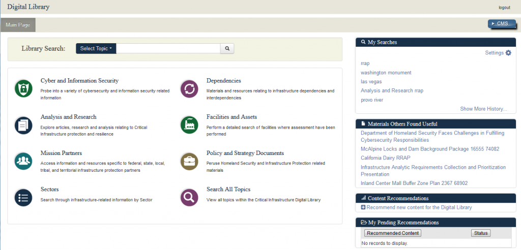 Screenshot of the IP Gateway Digital Library showing the various options: Facilities & Assets, Policy & Strategy Documents, Analysis & Research, Cyber & Information Security, Search, Sectors, Resilience & Risk Mitigation, and Mission Partners