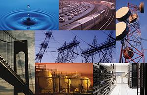 Montage of pictures depicting various critical infrastructure sectors (from top left clockwise): drop of water hitting a body of water sending ripples out for the Water and Wastewater Sector; highway with cars beside train tracks with trains for the Transportation Systems Sector; antenna for the Communications Sector; server room for the Information and Technology Sector; storage tanks for the Chemical Sector; suspension bridge for the Transportation Systems Sector; and electric wires and electricty towers for the Energy Sector.
