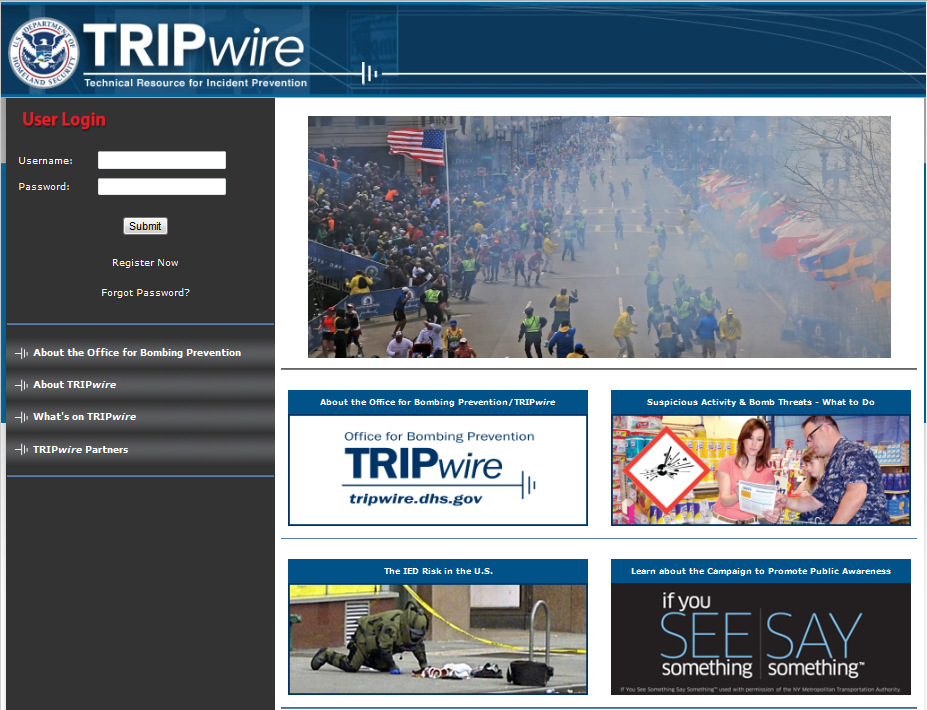 Screenshot of TRIPwire homepage; Source: DHS