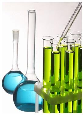 Stock image of chemicals in tubes and beakers.