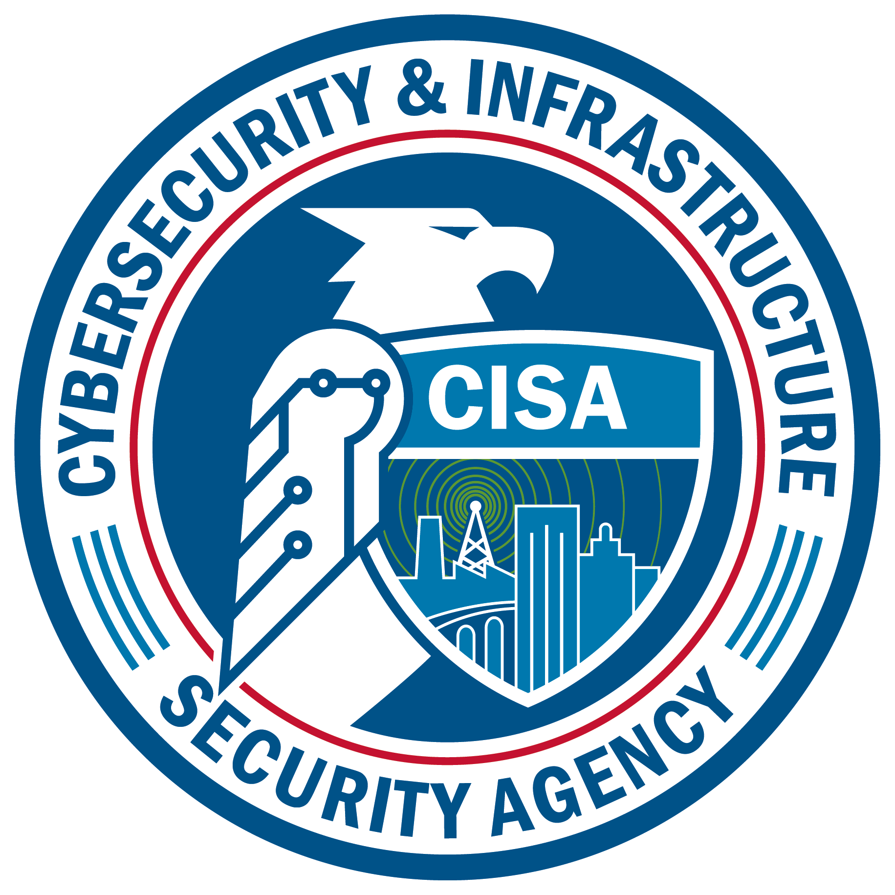 "•	The blue outer ring and the inner red ring indicate CISA's unity with DHS and a nod to our efforts to cut through government red tape, while the three blue lines in the outer ring represent the Agency's three congressionally mandated missions: cybersecurity, infrastructure security, and emergency communications.    •	The eagle faces to the right, signifying CISA's keen eye on the future and forward posture.    •	The center shield represents CISA's commitment to ""Defend Today, Secure Tomorrow,"" while the eagle's folded wings reinforce CISA's protection and defense of our nation.    •	The image includes wavelengths representing the emergency communications mission, which emanate from buildings that signify the infrastructure security mission, while the nodes in the eagle's arm indicate the cybersecurity mission.   •	The bridge represents the vital, two-way connection, communication, and collaboration between the public and private sectors, which is so key to CISA's mission success."
