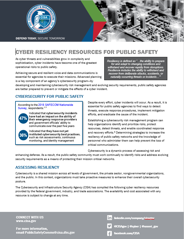 Cyber Resiliency Resource for Public Safety Fact Sheet