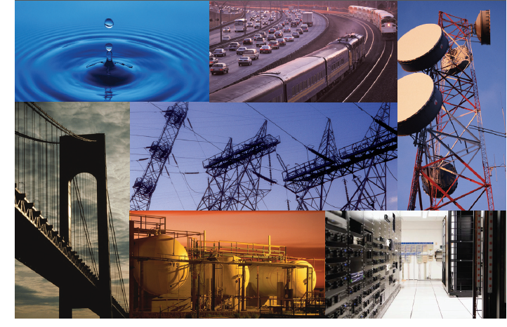 Collage image (R to L) of water drop, cars on a highway, a satellite tower, a bridge, three chemical comtainer tanks, and the inside of a room with computers.