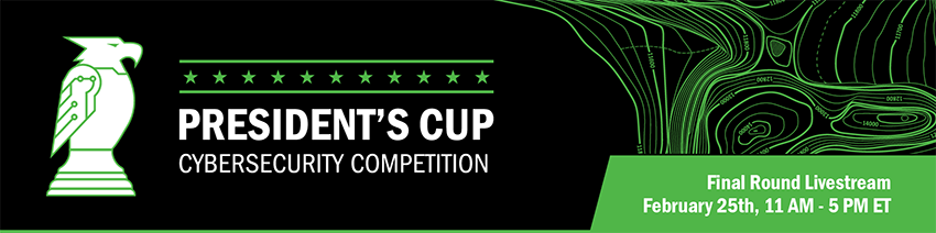 President's Cup Cybersecurity Competition Livestream Banner