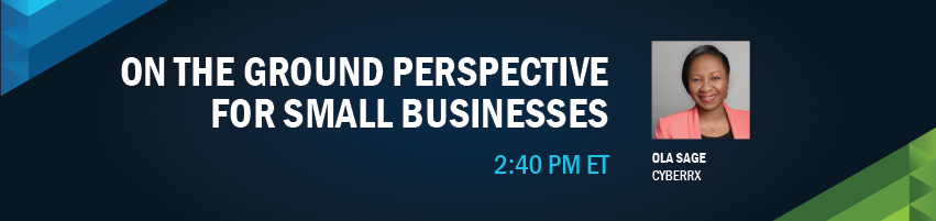 2:40 - 2:50 pm - On the Ground Perspective for Small Businesses. Session Participant: Ola Sage - Cyberrx