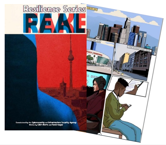 Cover of Real Fake graphic novel showing a hooded silhouette in blue on the left, and a city silhouette in red on the right.